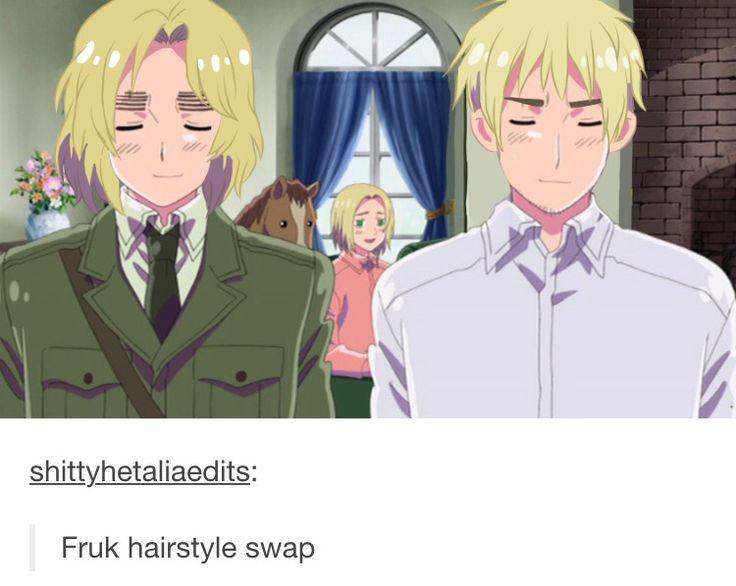 Well then... that hair swap is... not okay... lol. -- Hetalia, anime, funny, tumblr, France, England
