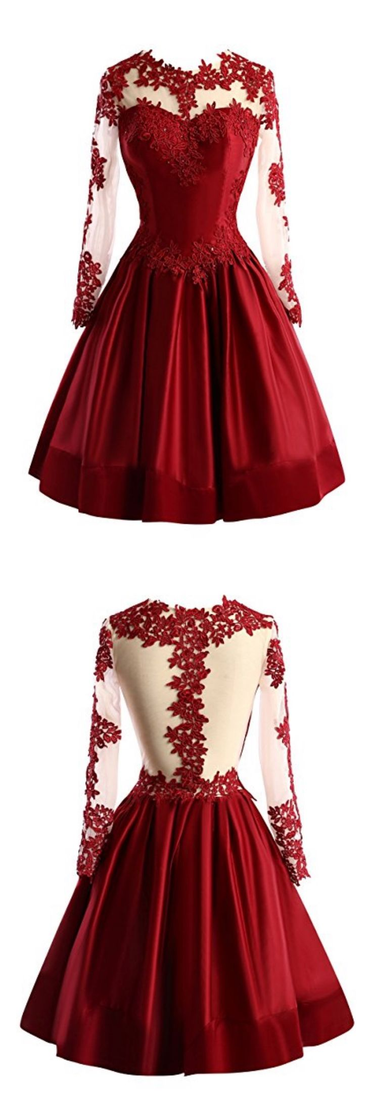 burgundy homecoming dresses, 2017 homecoming dresses, lace homecoming dresses,long sleeves homecoming dresses, homecoming dresses knee length, satin homecoming dresses,cheap homecoming dresses, cocktail dresses, graduation dresses, party dresses,short prom dresses #SIMIBridal #homecomingdresses
