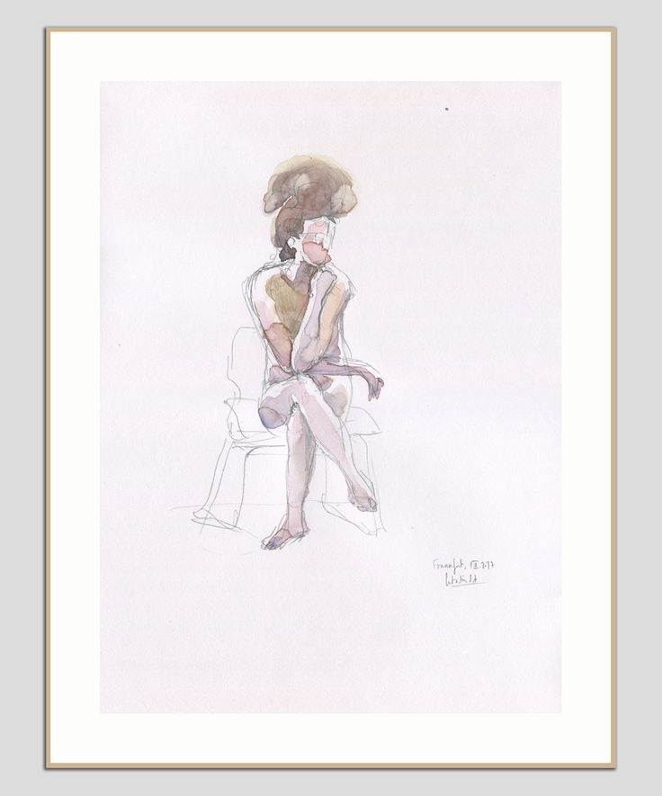 Female Nude - ORIGINAL watercolour and pencil drawing - sketch of woman nude - figure studies by Catalina by CATILUSTRE on Etsy
