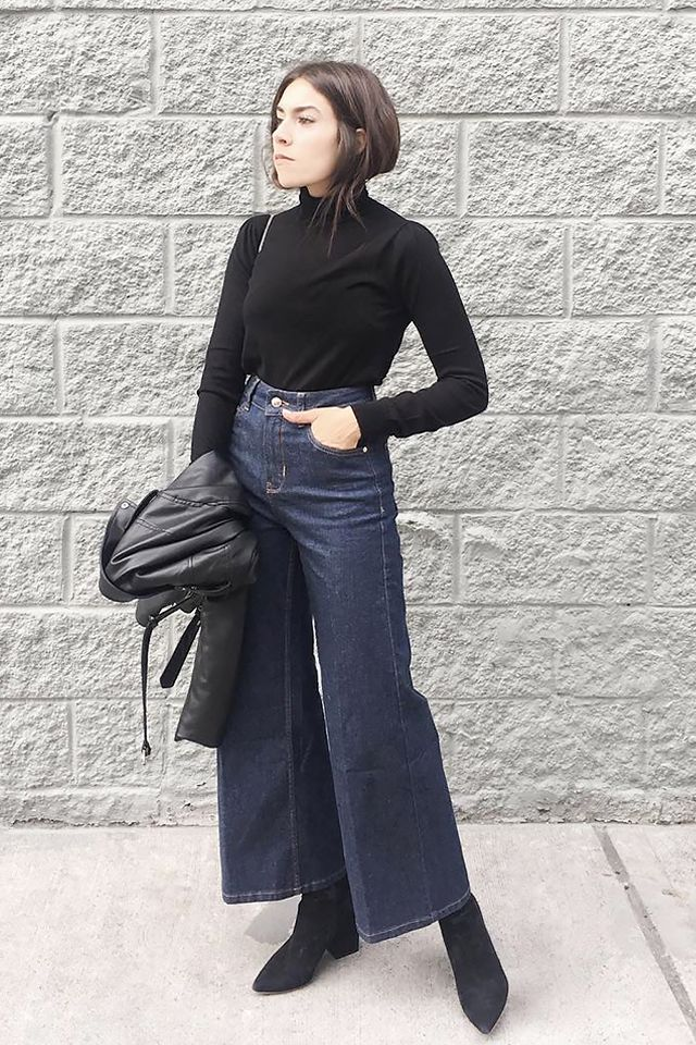 84f15245d1c Wide jeans are sleek and sophisticated with a turtleneck and suede boots.