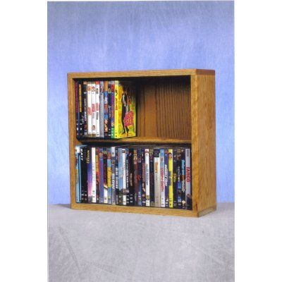 The Wood Shed Solid Oak 2 Row Dowel 60 DVD Media Rack Clear Oak - 215-18C