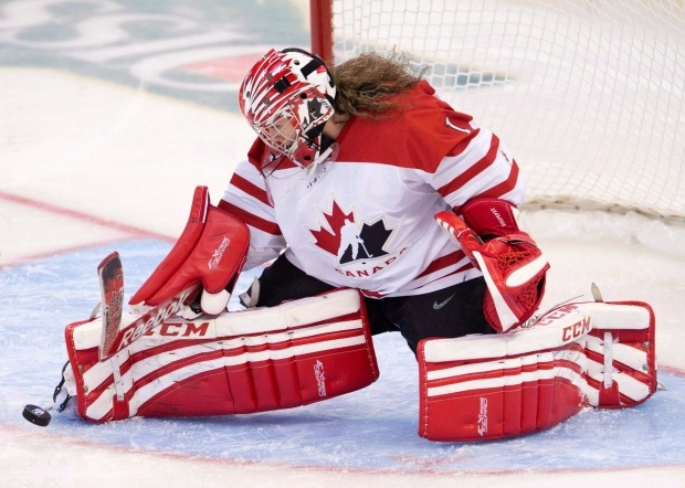 Team Canada goalie Shannon Szabados makes a save during second period action against Team Finland at the IIHF Womens World Ice Hockey championships in Ottawa on April 5, 2013. (THE CANADIAN PRESS/Adrian Wyld)