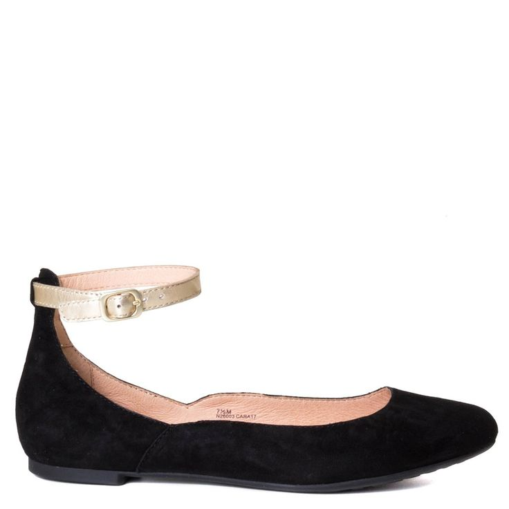 Strut around town with ONO's Luchia. Versatile and minimal, this sophisticated flat caters to your on-the-go lifestyle. It is constructed with soft suede and cushioned with an airy padded insole. Pair these with a fun skirt or a flowy midi dress!  Women's flat shoes Made in China Soft suede upper Leather upper, lining, with arch support footbed Flexible rubber sole 1/4 inch heel Adjustable buckled strap at ankle Flattering flat with a charming gold ankle strap detail   Fits: True...
