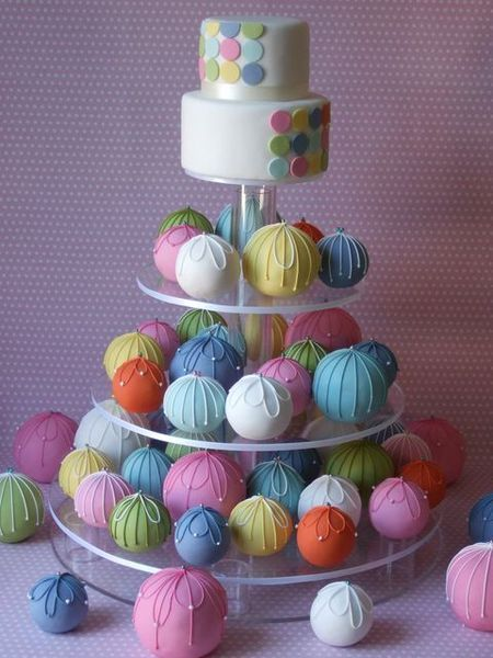 Rainbow Cake Ball Wedding Cake