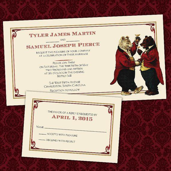 Custom toasting bears gay same sex wedding by invigaytions for Gay wedding shower invitations