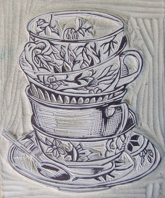 Linocut to print on a tea towel for a gift