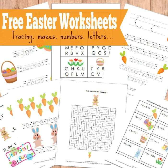 Free Printable Easter Worksheets, Tracing, Mazes, Numbers, Letters and more