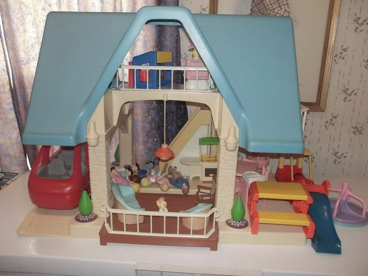 Vintage Little Tikes Blue Roof Doll House Remember When