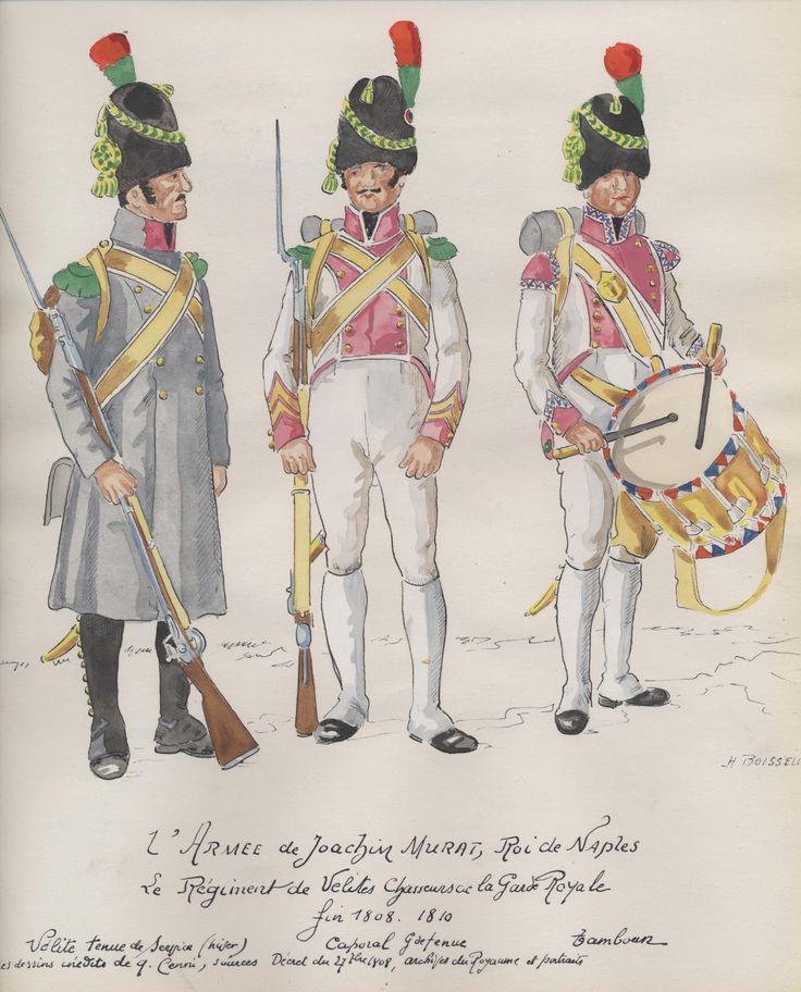 Velite, caporale e tamburo del rgt. cacciatori velite della guardia reale di Murat
