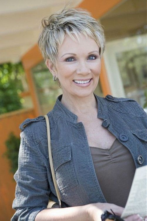 Martha's favorite, second view: short pixie hairstyle for women over 50