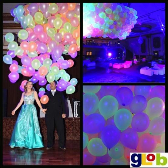 Lluvia de globos neon xv a os globos arreglos for Decoracion de globos para 15 anos