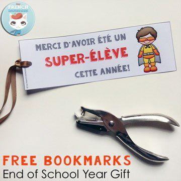 FREE French End of School Year Bookmarks: des signets pour les super-élèves. La fin de l'année scolaire!
