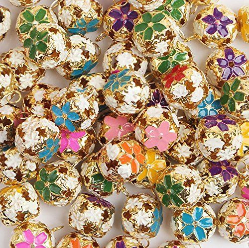 P2Pzita 50pcs18mm Mixed Color Metal Flower Jingle Bell