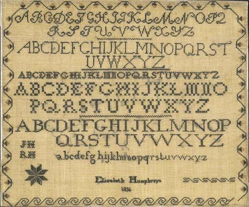 Quaker Sampler by Elizabeth Humphreys, probably Delaware Valley, dated 1836