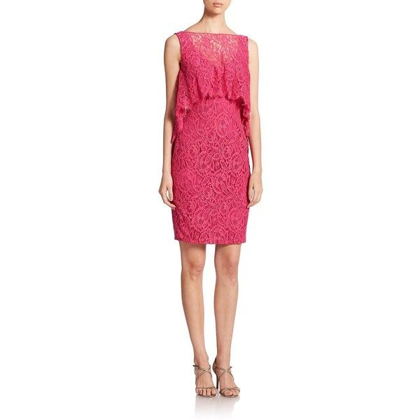 Theia Lace Overlay Sheath ($330) ❤ liked on Polyvore featuring dresses, apparel & accessories, passion fruit, floral print dress, pink sleeveless dress, pink sheath dress, floral dress and pink pencil dress