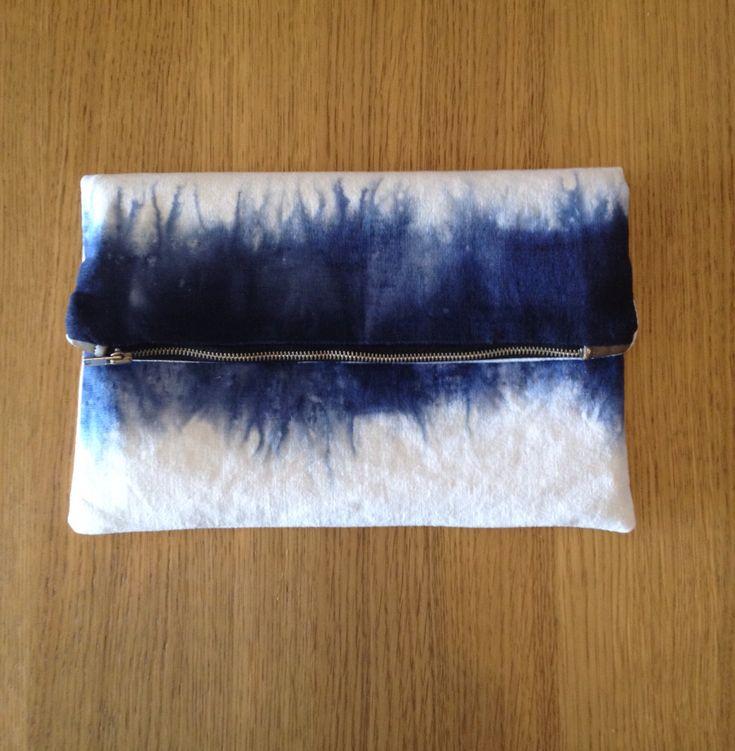 Dip dyed linen fold over clutch purse