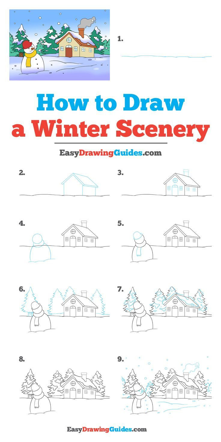 How To Draw A Winter Scenery Winter Drawings Drawing Tutorial