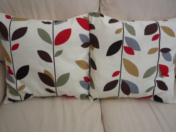 throw pillow cinnamon red brown black grey gray green cream leaf pattern cushion covers shams uk. Black Bedroom Furniture Sets. Home Design Ideas