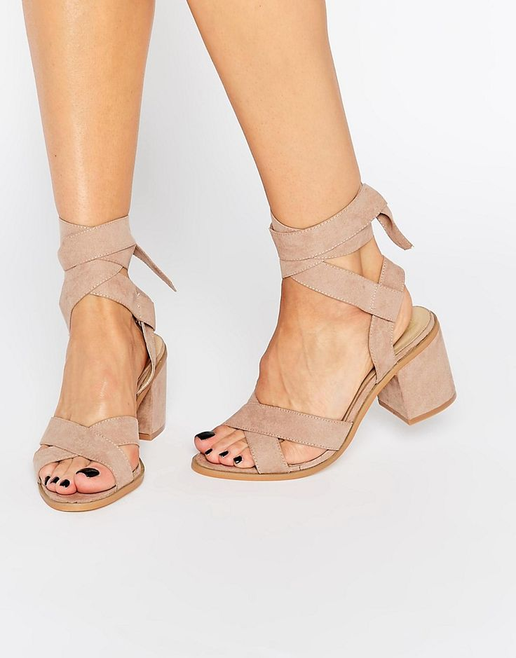 Image 1 of Truffle Tie Ankle Mid Heel Sandals http://fave.co/2dQU9h8