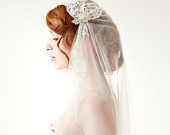 This is actually a classy veil, didn't really want one, but I can dig it    Tule chapel length veil, lace, bridal cap - Touch of Love - Made to Order