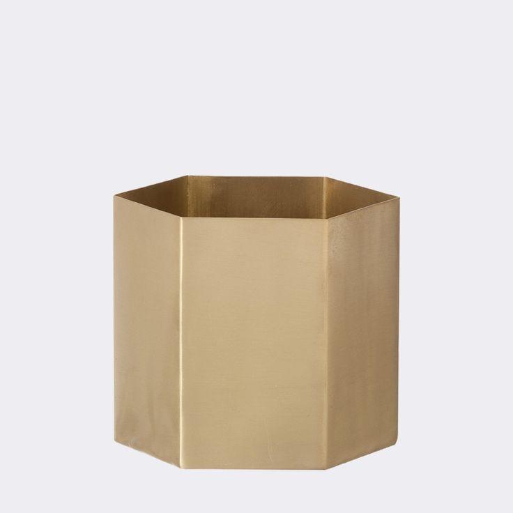 Pot hexagonal Large - Doré - Ferm Living