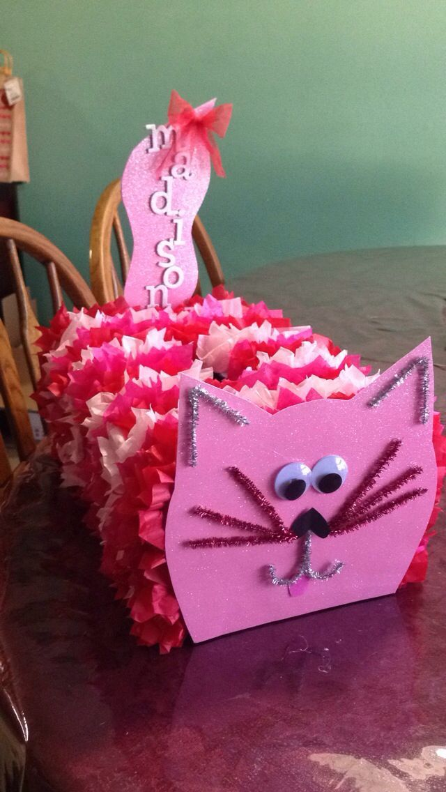Cat Valentine Card Box: Using an empty popcorn and saltine boxes we created fun cat card holders for Valentine's Day. Description from pinterest.com. I searched for this on bing.com/images