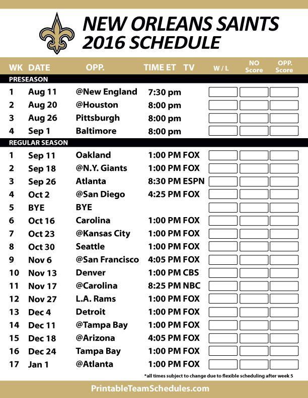 New Orleans Saints Football Schedule. Print Schedule Here - http://printableteamschedules.com/NFL/neworleanssaintsschedule.php