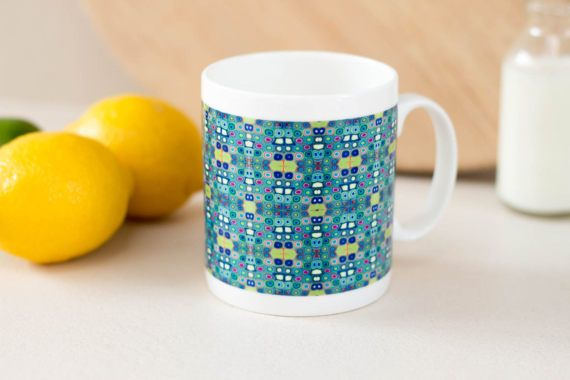 Pretty mug hand printed klimt mug blue green mug by DoodlePippin