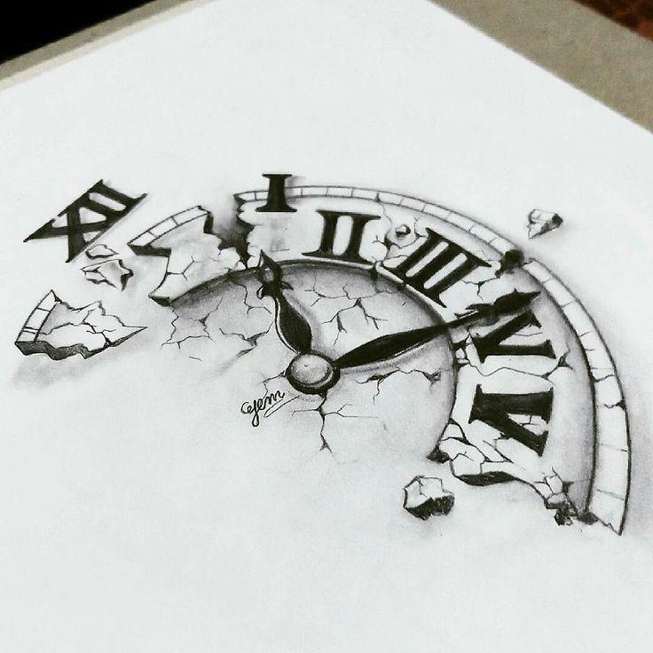 Broken Clock Pencil Drawing Clock Drawings Clock Tattoo Design