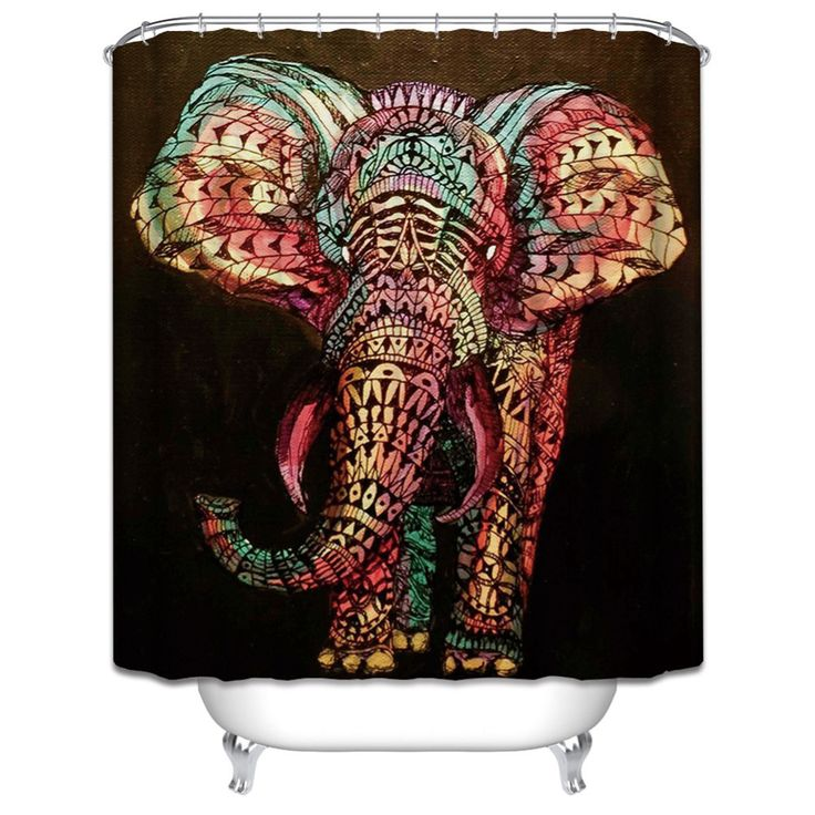 New! Painted Elephant Shower Curtain