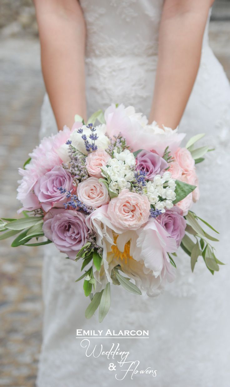 Flowers by shirley garden rose bouquets - Proven Al Bridal Bouquet In Lavender And Pale Pink Tones Peonies Lavender Roses Olive