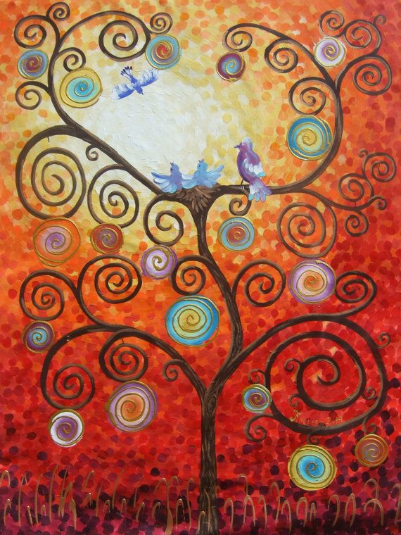 Hey, I found this really awesome Etsy listing at https://www.etsy.com/listing/163587692/tree-of-life-large-painting-48x64-love