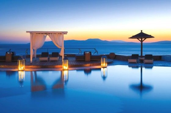 Sunset in Mykonos, Greece: Favorite Places, Pool, Greece, Places I D, Grand Hotel, Travel, Hotels, Mykonos Grand
