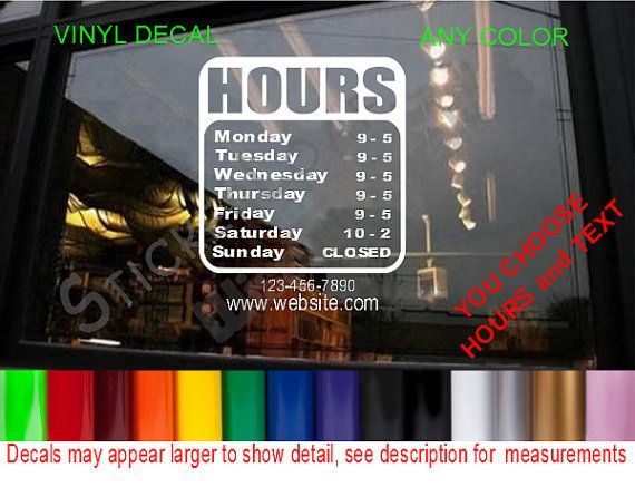 Best Single Color Business Open Hour Decals PLUS LOGO Images - Window decals for business atlanta