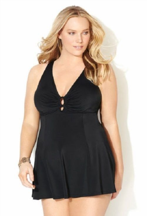 84.15$  Buy here - http://viola.justgood.pw/vig/item.php?t=anhelct1698 - NEW Avenue Black One Piece Swimdress Swimsuit Womens Plus Size 24 Tummy Control