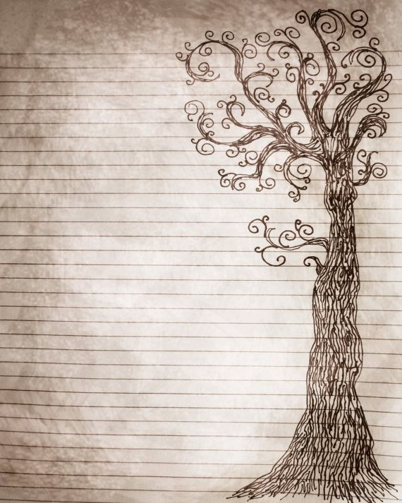 Printable Journal Page Pen and Ink Drawing of a Tree por InkedInk