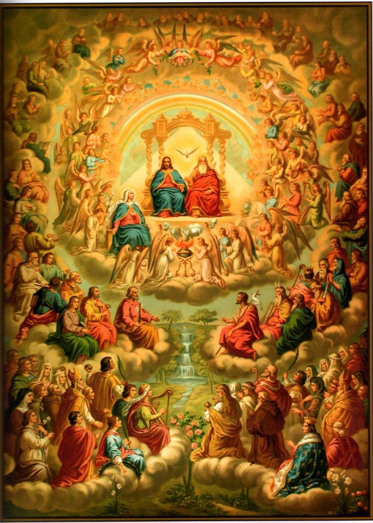 The Father, Son and Holy Ghost worshiped by Our Lady and all the angels and saints.