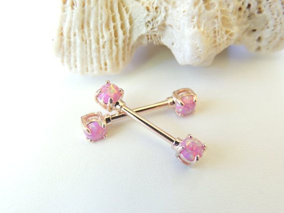 Rose Gold Pink Fire Opal Nipple Barbells Set by SeductiveBodyWorks