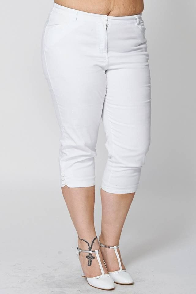 White 3/4 Lenght Stretchy Jeans