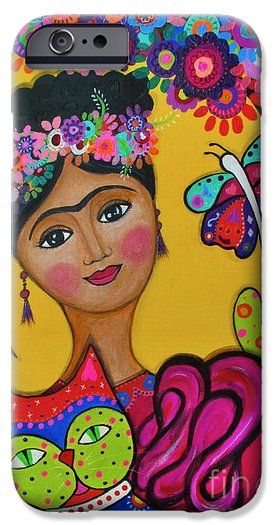 Brigits Frida And Cat iPhone 6 Case by PRISTINE CARTERA TURKUS.  Protect your iPhone 6 with an impact-resistant, slim-profile, hard-shell case.  The image is printed directly onto the case and wrapped around the edges for a beautiful presentation.  Simply snap the case onto your iPhone 6 for instant protection and direct access to all of the phones features!