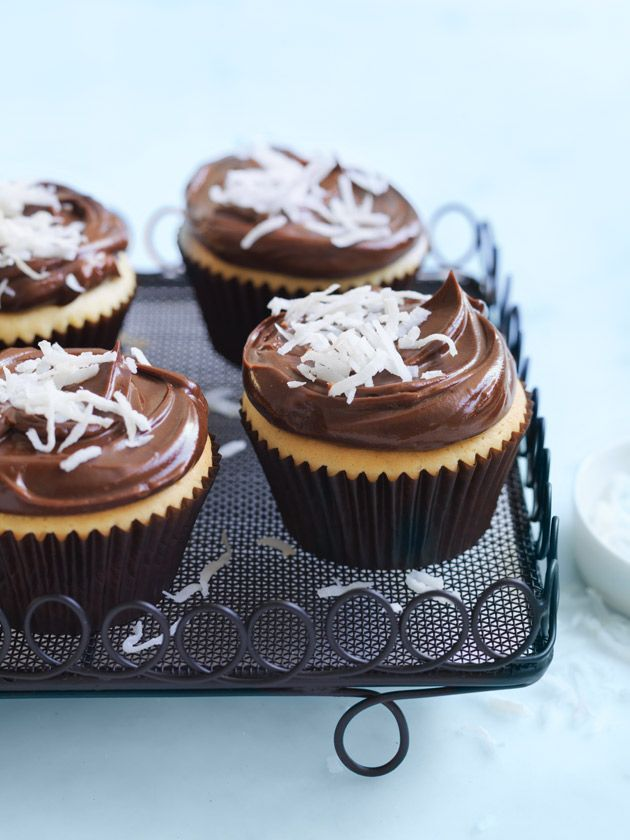 Lamington Cupcakes With Chocolate Ganache Icing   Donna Hay