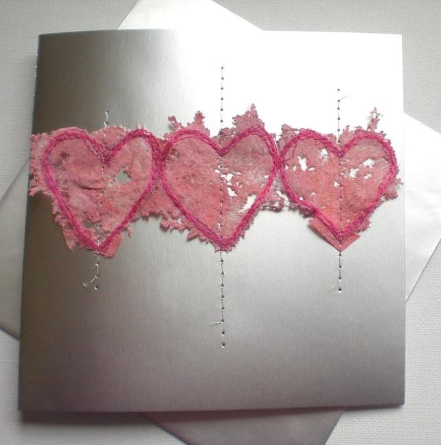 Valentine's Card 'Pink Hearts Trio' £2.95