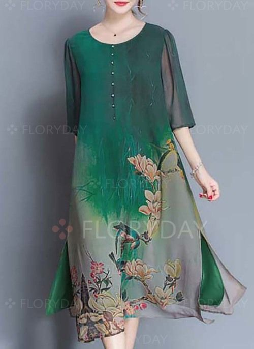 Robes - $66.87 - Silk jute Florale 1/2 manches Mi-mollet Décontracté Robes (1955128801)