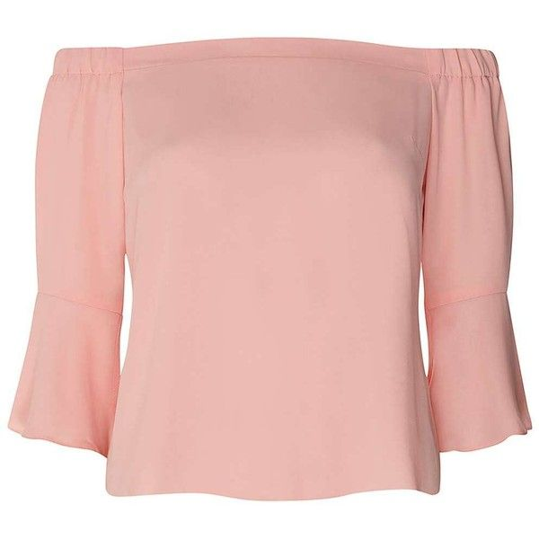 Dorothy Perkins Petite Pink Bardot Top ($39) ❤ liked on Polyvore featuring tops, petite, pink, petite tops, pink top and dorothy perkins
