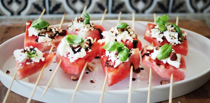 Sommarförrätt: Grillad vattenmelon med fetaost