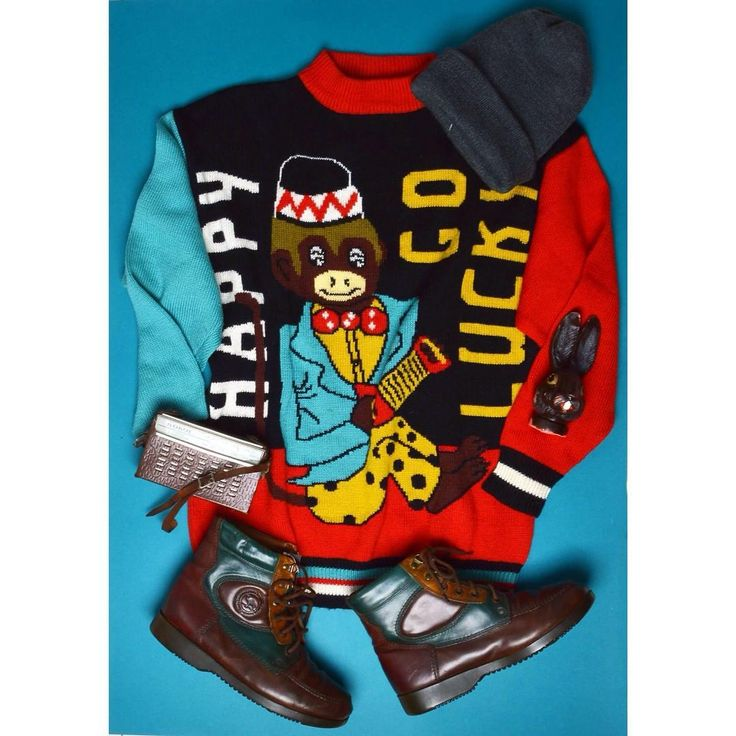 Happy go lucky 🐒 vintage knitted jumper monkey pattern happygolucky autumn winter szputnyikshop