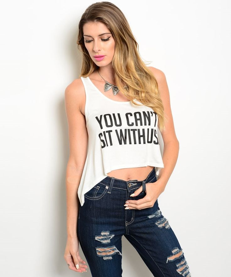 White You Can't Sit With Us Crop Top