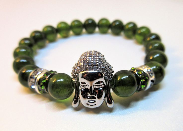 Chinese Natural Jade 8 mm  Stretch Bracelet with CZ Pave Crystal Silver Buddha . You need this bracelet to bring you more good and prosperity.Get yours today or buy as a gift.