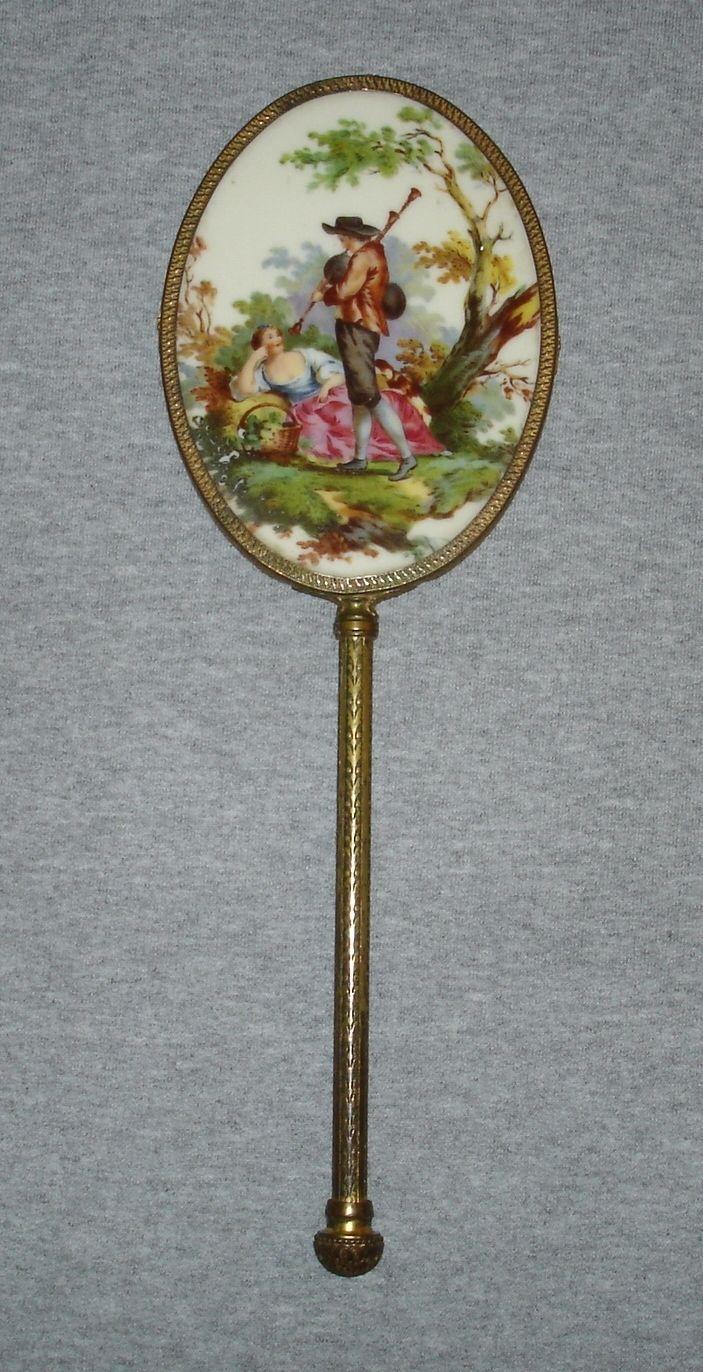 Antique Victorian Porcelain Portrait Hand Mirror