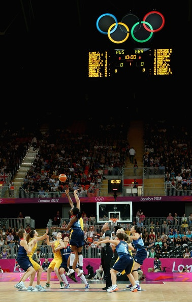 Great Britain tips-off against Australia to start the game during Women's Basketball on Day 1 of the London 2012 Olympic Games at the Basketball Arena on July 28, 2012 in London, England.
